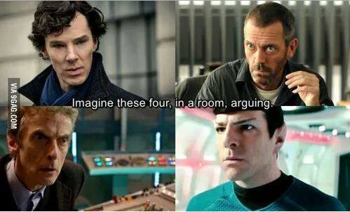 Imagine these four in a room, arguing.